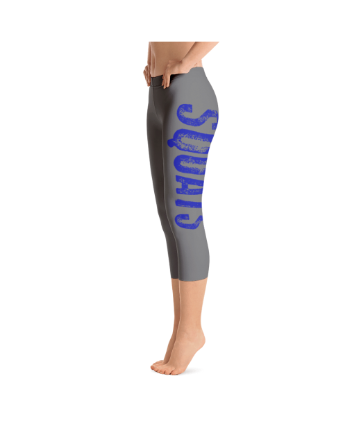 Squats Capri Leggings in Gray and Blue